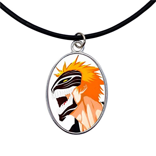 dragonweave-ichigo-hollow-mask-bleach-anime-silver-oval-cameo-pendant-on-black-leather-cord-necklace