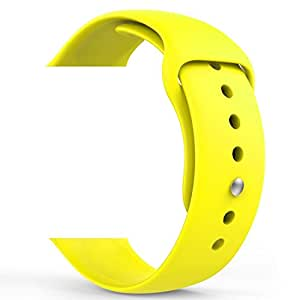 Soft Silicone Sport Style Replacement Band for Apple Watch 38/42mm,Strap Replacement Apple Watch Band for iWatch Series 3, Series 2, Series 1, Sport and Edition (Yellow, 38mm)