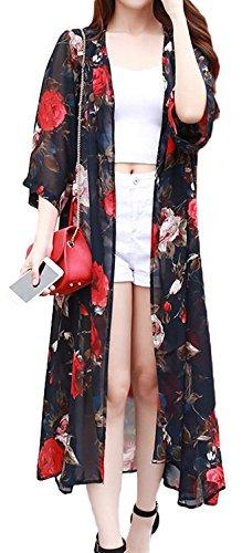 レディース ロングカーディガン7分袖 シフォン 花柄 長袖カーディガン UVカット 日焼け対策 冷房対策 夏 レディースカーディガン リゾート 旅行