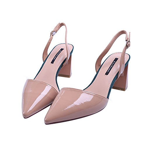 Zapatos Naked Heels Verano Altos Punta Tacones De SFSYDDY Laca Hebillas Baotou color Mujeres Sandalias Salvaje Rough Ynqv1