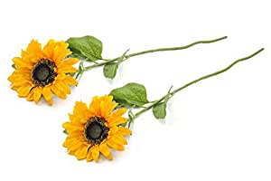 DII Artificial Silk Craft Flowers for Bouquets, Weddings, Wreaths, & Crafts, Single Sunflower Stem - Set of 2