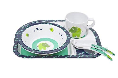 Lässig Dish Set 4-teiliges Kindergeschirrset mit Schale, aufgeteiltem Teller, Tasse und Besteck aus 100% Melamin, Wildlife Rhino