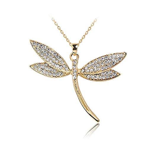 - Noopvan Fashion Deals Necklace, Women Elegant Dragonfly Crystal Necklace Long Sweater Chain Romantic Jewelry Gift (Gold)