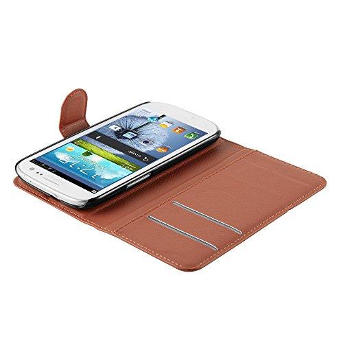 Cadorabo - Funda Samsung Galaxy S3 / S3 NEO (GT-I9300 / 9301) Book Style de Cuero Sintético en Diseño Libro - Etui Case Cover Carcasa Caja Protección (con función de suporte y tarjetero) en NEGRO-FANT MARRÓN-CHOCOLATE