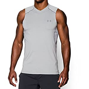 Under Armour Men's Raid Sleeveless T-Shirt, True Gray Heather /Graphite, Large