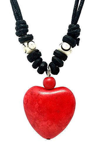 BDJ Red Howlite Bead Heart Pendant Adjustable Cord Necklace 16 Inches (RHPNL500)
