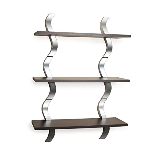 - Danya B WL-A01 Contemporary Waves 3-Level Floating Shelving System - Walnut/Silver Finish