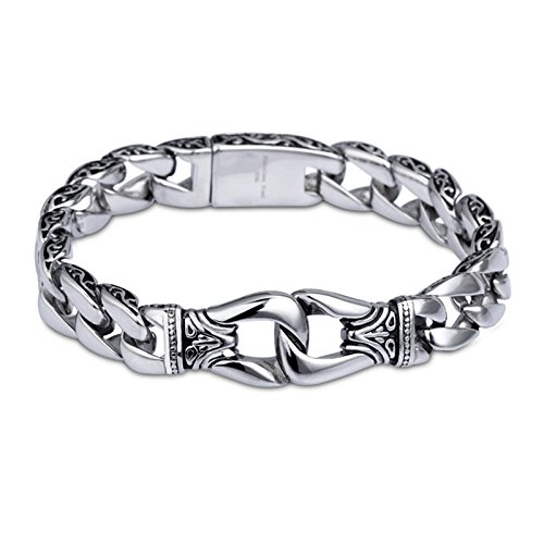 Men's Bracelet BlueFox Totem Stainless steel silver Black Link bracelet,pack 1,8.6''