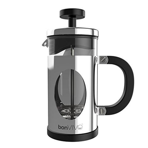 bonVIVO® GAZETARO I, Design-Kaffeebereiter Und French Press Aus Silber-Glänzenden Edelstahl und Glas, mit extra Filter, klein Größe: Mittel (035l/350ml / 3 Tassen)oder Groß (1l/1000ml /8 Tassen)