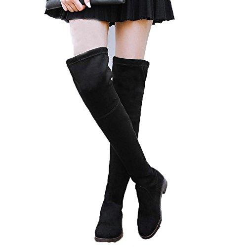 Hiver Sur Bottes De Genou Élastique Plamp Jambe Grands Verges Noir Avec Élastique De Velours Women'S Shoes ,43