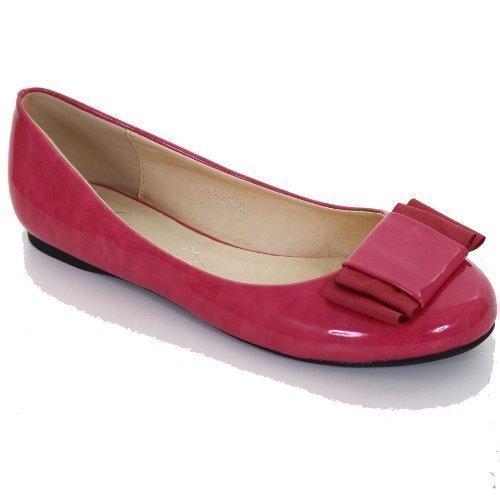 Sko 8 Bow Aksent 3 Damene Kvinners Flats Rosa Uformell Komfort Smarte Patent Safir Pumper BqSn7vfv