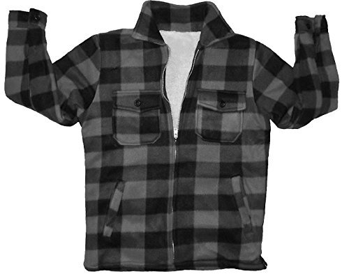 Woodland Supply Co. Boys' Fleece Sherpa Lined Buffalo Plaid Zip Up Jacket (Small (8), Charcoal)