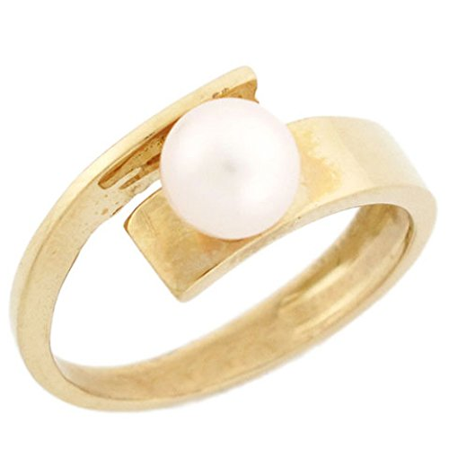14k Solid Yellow Gold Freshwater Cultured Pearl High Polish Bypass Ring Jewelry High Polish Bypass Ring