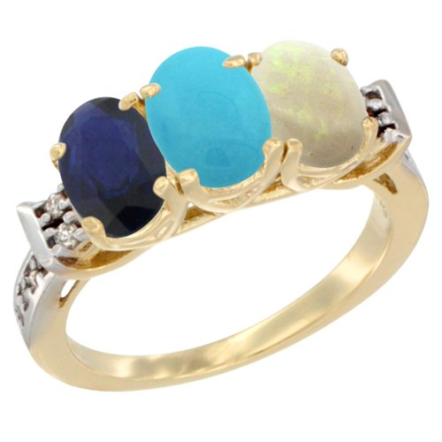14K Yellow Gold Natural Blue Sapphire, Turquoise & Opal Ring 3-Stone Oval 7x5 mm Diamond Accent, size 10
