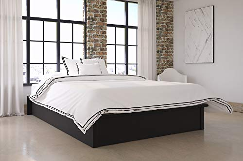 DHP Maven Platform Bed with Upholstered Faux Leather and Wooden Slat Support, Queen Size - Black ()