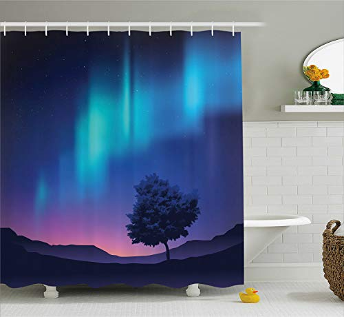 Ambesonne Fantasy Shower Curtain, The Aurora Borealis with A Tree in Arctic Region Magical Rare Sky Up View Print, Cloth Fabric Bathroom Decor Set with Hooks, 75 Inches Long, Blue ()