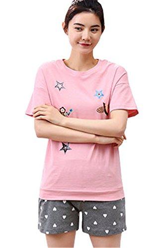 Primavera da Nuovo Magliette due Larghi Stampa Manica pigiama Cotone notte Clothing Pigiami Estive Girocollo Donna pezzi Corte COCO cartone Camicie animato Pantaloni 1zXxq