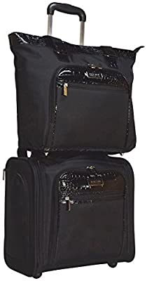 Kenneth Cole Reaction Croc 2-Piece Luggage Set: Wheeled Under Seat Carry-On and Tote Bag