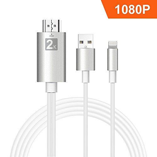 Lightning to HDMI, iPhone to HDMI Cable Lightning Digital AV to HDMI Adapter 6.6ft 1080P HDTV Cable for iPhone,iPad,iPod,Plug and Play by T-CORE(Silver)