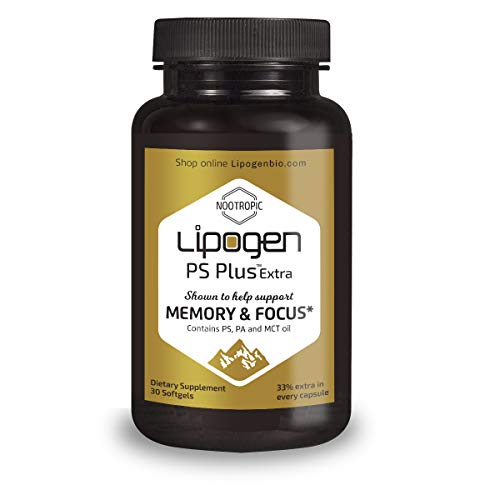 Brain Boost Supplement - Enhance Memory, Focus & Clarity. Extra 33% in Every Softgel. Highly Effective, Clinically Proven Formula for Cognitive Function. Lipogen PS Plus (30 Softgels) (Alpha Brain Memory And Focus Side Effects)