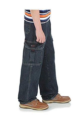 Wrangler Shirt Twill Blue (Wrangler 12 Cargo Slim Boys' Classic Denim Cargo Jeans/Relaxed Seat & Thigh/Straight Leg Opening/Waistband (12 Cargo Slim))