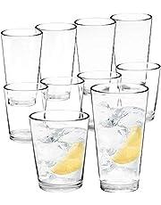 Youngever 8 Pcs Bistro Premium Quality Plastic Drinking Tumblers, Plastic Glasses, Reusable Plastic Cups, Unbreakable Glasses, Drinking Glasses (16 Ounce & 22 Ounce)