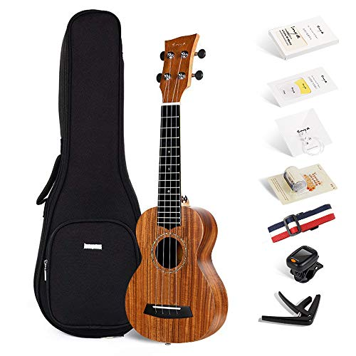 Enya EUS-70 KOA 21 Inch Soprano Ukulele Bundle with Online Lessons,Gig bag,Strings, Tuner, Strap,Finger shaker,Capo,Picks,Polishing cloth