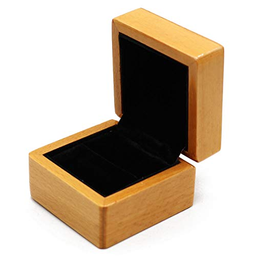 - HOLLY TRIP Wooden Ring Box, Square Velvet Wedding Ring Jewelry Boxes Storage Trinket Box Case for Proposal, Engagement, Gift