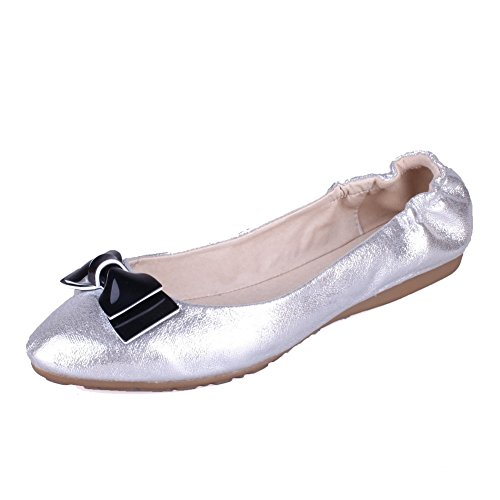 Amoonyfashion Mujeres Pu Low-heels Solid Pull-on Pumps-Zapatos Plata