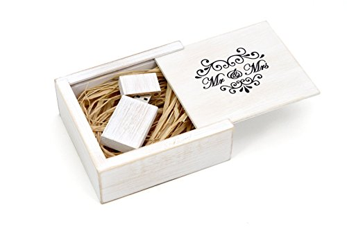 (Antique Maple 16GB USB Flash Drive - Stained in Wedding White - Inserted into a Printed Matching Maple Stained Box with Raffia grass inside. MR & MRS Elegance Design!)