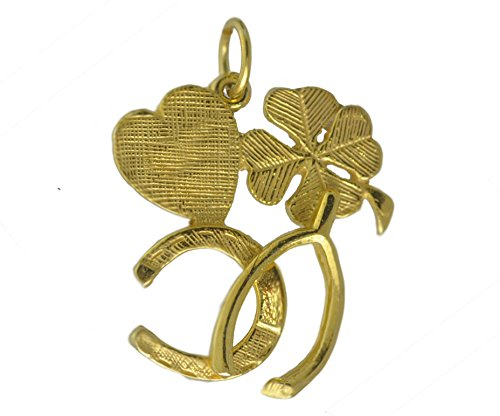 (Prince of Diamonds Inc 24K Gold Plated Lucky Charm Four Leaf Clover Horseshoe Heart Wishbone Good Luck)