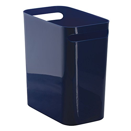 InterDesign Una Rectangular Trash Can with Handles, Waste Basket Garbage Can for Bathroom, Bedroom, Home Office, Dorm, College, 12-Inch, Navy Blue