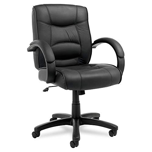 Alera ALESR42LS10B Strada Series Mid-Back Swivel/Tilt Chair w/Black Top-Grain Leather