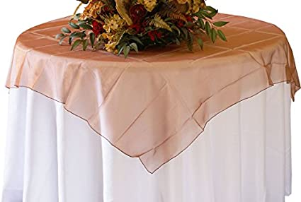 2 Pcs 72 Square Organza Sheer Table Overlays Toppers Tablecloths Covers Linens For Wedding Party Banquet Events Inc Antique Gold Kitchen Dining
