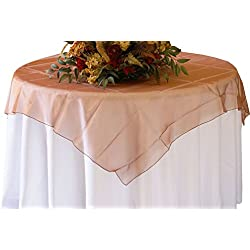 "Wedding Linens Inc. (2 PCS) 72"" Square Organza Sheer Table Overlays Toppers Organza Tablecloths Table Covers Linens for Wedding Party Banquet Events - Copper"