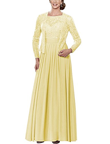 with of Formal Gowns The Dresses Mother Lace Beads Yellow Sleeves Cdress Bride Chiffon Long Jacket Long x4FwSaFnq8