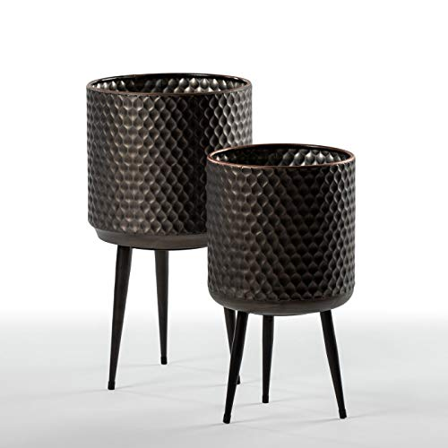 (Embossed Cylinder Metal Planters - Set of 2 - Comes with Tripod Plant Stand)