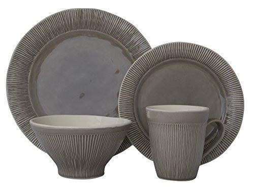 Grey Stoneware (Sango 3591GY800ACM14 Chromatic 16-Piece Stoneware Dinnerware Set, Gray)