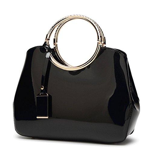 Bolso Color Bolso la Bolso Brillante Hombro PU Novia de Cuero de 4 un Handbag de de Novia Mujer Patente la de Cuero de de de A HndnSqxwF