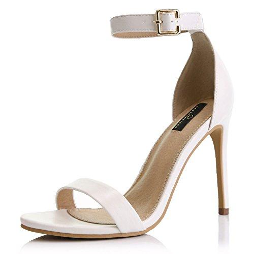 New White Pu Women Sandals - DailyShoes Women's Open Toe Ankle Buckle Strap Platform Casual Pump Heel Sandal Shoes, White PU, 9 B(M) US