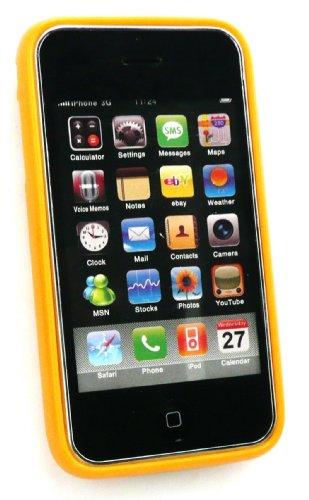 Emartbuy ® Apple Iphone 3G / 3Gs Polka Dots Gel Skin Cover / Case Orange / Weiß