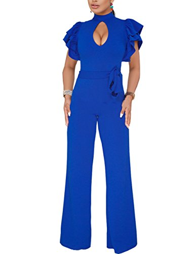 Vilover Women's Sexy V Neck Ruffle Casual Bodycon Long Pants Jumpsuit Romper (L, Blue(Keyhole)) -