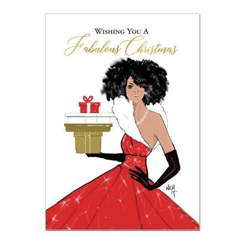 "Search : African American Expressions - Christmas Diva/ Fabulous Christmas Boxed Christmas Cards (15 cards, 5"" x 7"") C-943"