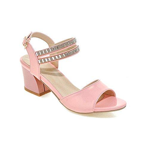 Strassi Aiweiyi Sandaalit Naisten Vaaleanpunainen Paksu Korkokengät Mekko f405nZr4wq
