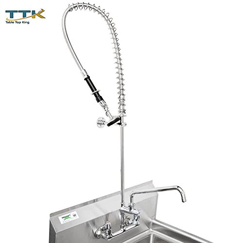 Equip by Tabletop king 5PR-8W08 Wall Mounted 35 3/4'' High Pre-Rinse Faucet with 8'' Adjustable Centers, 44'' Hose, 8'' Add-On Faucet, and 6'' Wall Bracket