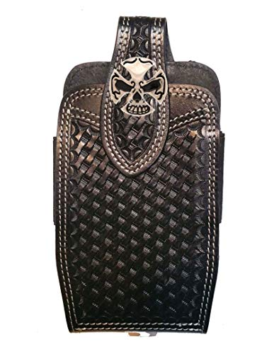 (Biker Cross & Skull Concho mounted on a Tan basketweave hand-tooled leather phone holder with contrast)