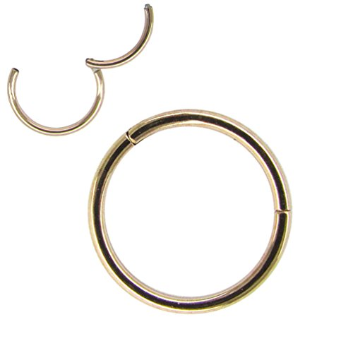 NewkeepsR 18G 9mm Rose Gold 316L Steel Nose Hoop Ring Stud Sleeper Earrings Hinged Clicker Seamless Segment Helix Daith Cartilage Lip Piercing