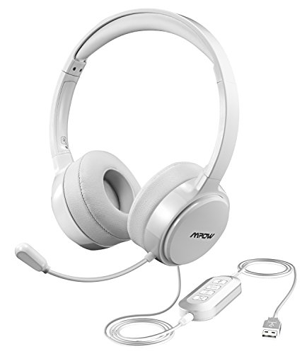 Mpow USB Headset with 3.5mm Jack, Lightweight Computer Headset with Noise Cancelling Microphone, Comfy Earmuffs, Wired Headphones for PC, Skype, Phone