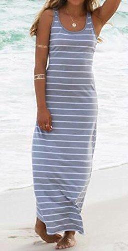 C & H Balancer Gris Robe Longue Femme Manches Col Rond De Plage Rayée De Base
