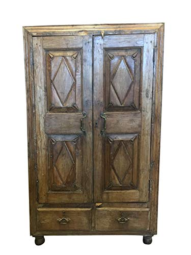 Antique Cabinet Armoire with Drawers, Indian Colonial Teak Wood Handcarved Wardrobe 60x36 (Teak Wardrobe)